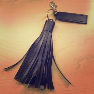 Accessories - Black leather tassel charging cord key chain